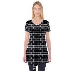 Brick1 Black Marble & Silver Glitter (r) Short Sleeve Tunic