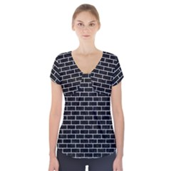 Brick1 Black Marble & Silver Glitter (r) Short Sleeve Front Detail Top