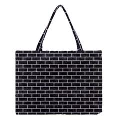 Brick1 Black Marble & Silver Glitter (r) Medium Tote Bag