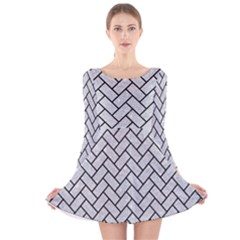 Brick2 Black Marble & Silver Glitter Long Sleeve Velvet Skater Dress