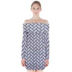 Brick2 Black Marble & Silver Glitter Long Sleeve Off Shoulder Dress