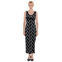 Brick2 Black Marble & Silver Glitter (r) Fitted Maxi Dress