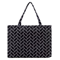 Brick2 Black Marble & Silver Glitter (r) Zipper Medium Tote Bag