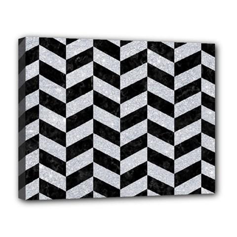 Chevron1 Black Marble & Silver Glitter Canvas 14  X 11