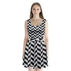 Chevron1 Black Marble & Silver Glitter Split Back Mini Dress