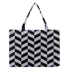 Chevron1 Black Marble & Silver Glitter Medium Tote Bag