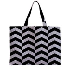 Chevron2 Black Marble & Silver Glitter Zipper Mini Tote Bag
