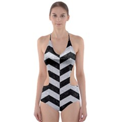 Chevron2 Black Marble & Silver Glitter Cut Out One Piece Swimsuit