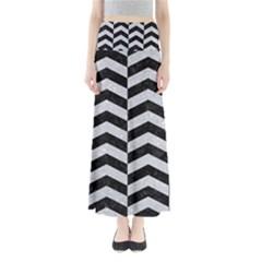 Chevron2 Black Marble & Silver Glitter Full Length Maxi Skirt