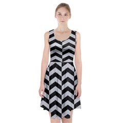 Chevron2 Black Marble & Silver Glitter Racerback Midi Dress