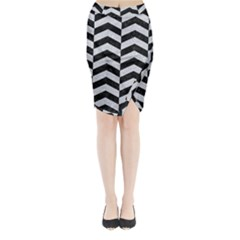Chevron2 Black Marble & Silver Glitter Midi Wrap Pencil Skirt