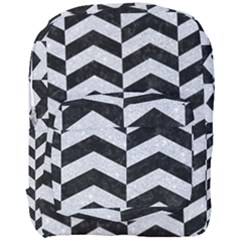 Chevron2 Black Marble & Silver Glitter Full Print Backpack