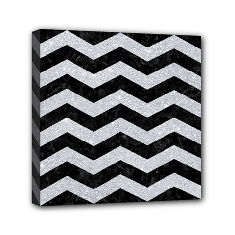 Chevron3 Black Marble & Silver Glitter Mini Canvas 6  X 6