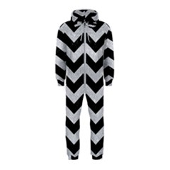 Chevron3 Black Marble & Silver Glitter Hooded Jumpsuit (kids)