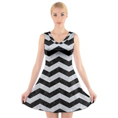 Chevron3 Black Marble & Silver Glitter V Neck Sleeveless Skater Dress