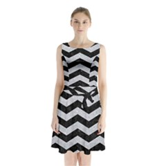 Chevron3 Black Marble & Silver Glitter Sleeveless Waist Tie Chiffon Dress