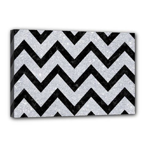 Chevron9 Black Marble & Silver Glitter Canvas 18  X 12