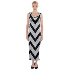 Chevron9 Black Marble & Silver Glitter Fitted Maxi Dress