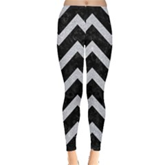 Chevron9 Black Marble & Silver Glitter (r) Leggings