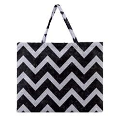 Chevron9 Black Marble & Silver Glitter (r) Zipper Large Tote Bag