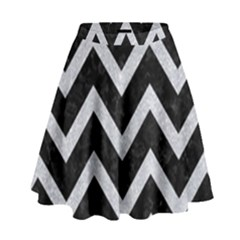 Chevron9 Black Marble & Silver Glitter (r) High Waist Skirt