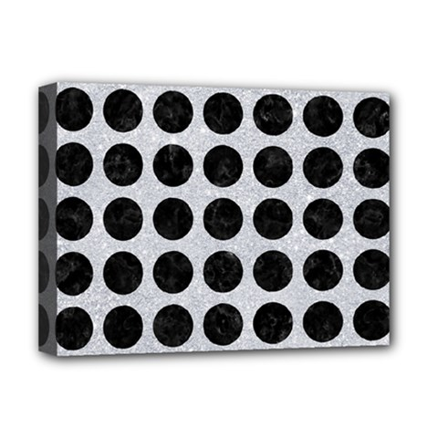 Circles1 Black Marble & Silver Glitter Deluxe Canvas 16  X 12