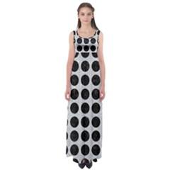 Circles1 Black Marble & Silver Glitter Empire Waist Maxi Dress