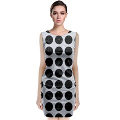Circles1 Black Marble & Silver Glitter Classic Sleeveless Midi Dress