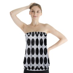 Circles1 Black Marble & Silver Glitter Strapless Top