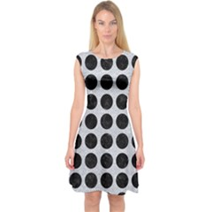 Circles1 Black Marble & Silver Glitter Capsleeve Midi Dress