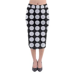 Circles1 Black Marble & Silver Glitter (r) Midi Pencil Skirt