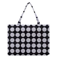 Circles1 Black Marble & Silver Glitter (r) Medium Tote Bag