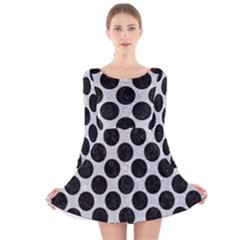 Circles2 Black Marble & Silver Glitter Long Sleeve Velvet Skater Dress