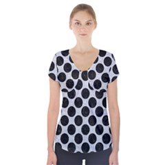 Circles2 Black Marble & Silver Glitter Short Sleeve Front Detail Top