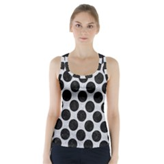 Circles2 Black Marble & Silver Glitter Racer Back Sports Top
