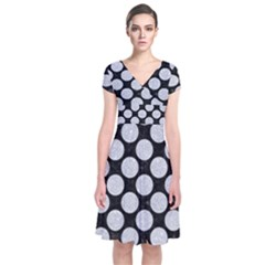 Circles2 Black Marble & Silver Glitter (r) Short Sleeve Front Wrap Dress