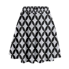 Circles3 Black Marble & Silver Glitter High Waist Skirt