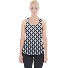 Circles3 Black Marble & Silver Glitter Piece Up Tank Top