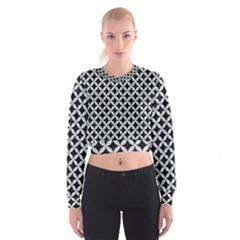 Circles3 Black Marble & Silver Glitter (r) Cropped Sweatshirt