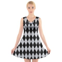 Diamond1 Black Marble & Silver Glitter V Neck Sleeveless Skater Dress