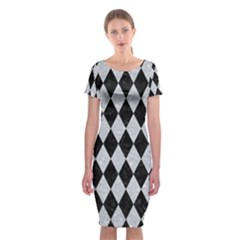Diamond1 Black Marble & Silver Glitter Classic Short Sleeve Midi Dress