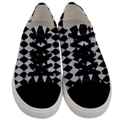 Diamond1 Black Marble & Silver Glitter Men s Low Top Canvas Sneakers