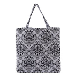 Damask1 Black Marble & Silver Glitter Grocery Tote Bag