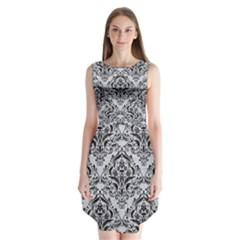 Damask1 Black Marble & Silver Glitter Sleeveless Chiffon Dress