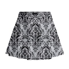 Damask1 Black Marble & Silver Glitter Mini Flare Skirt