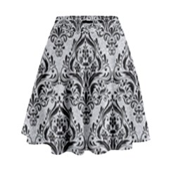 Damask1 Black Marble & Silver Glitter High Waist Skirt