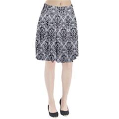 Damask1 Black Marble & Silver Glitter Pleated Skirt