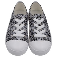 Damask1 Black Marble & Silver Glitter Kids  Low Top Canvas Sneakers