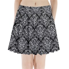 Damask1 Black Marble & Silver Glitter (r) Pleated Mini Skirt