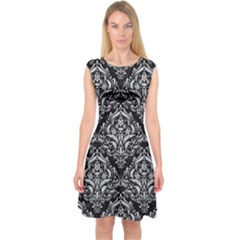 Damask1 Black Marble & Silver Glitter (r) Capsleeve Midi Dress